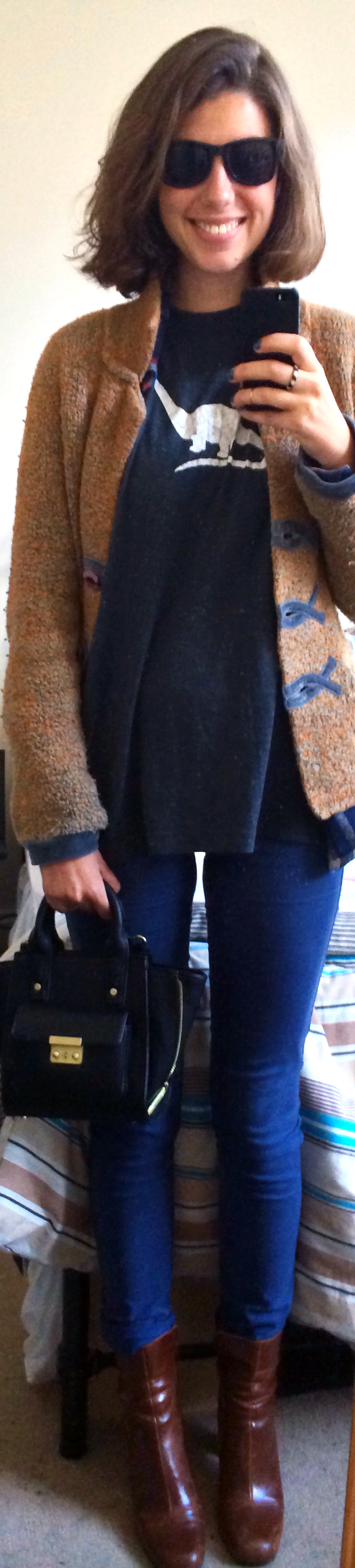 Cardigan ,  Men's Plaid Shirt ,  Blue Pants ,  Brown Heeled Booties , Homemade Dino T-Shirt, Phillip Lim for Target Handbag