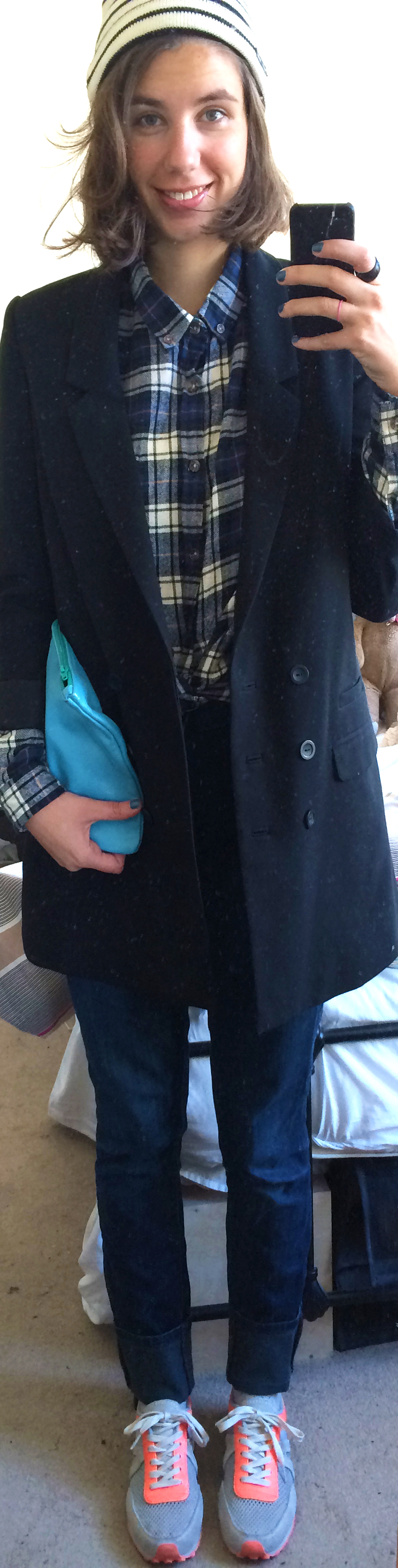Levi's Jeans ,  Flannel Shirt ,  Blazer ,  Neon Sneakers ,  Saint James Knit Hat ,  Leather Clutch