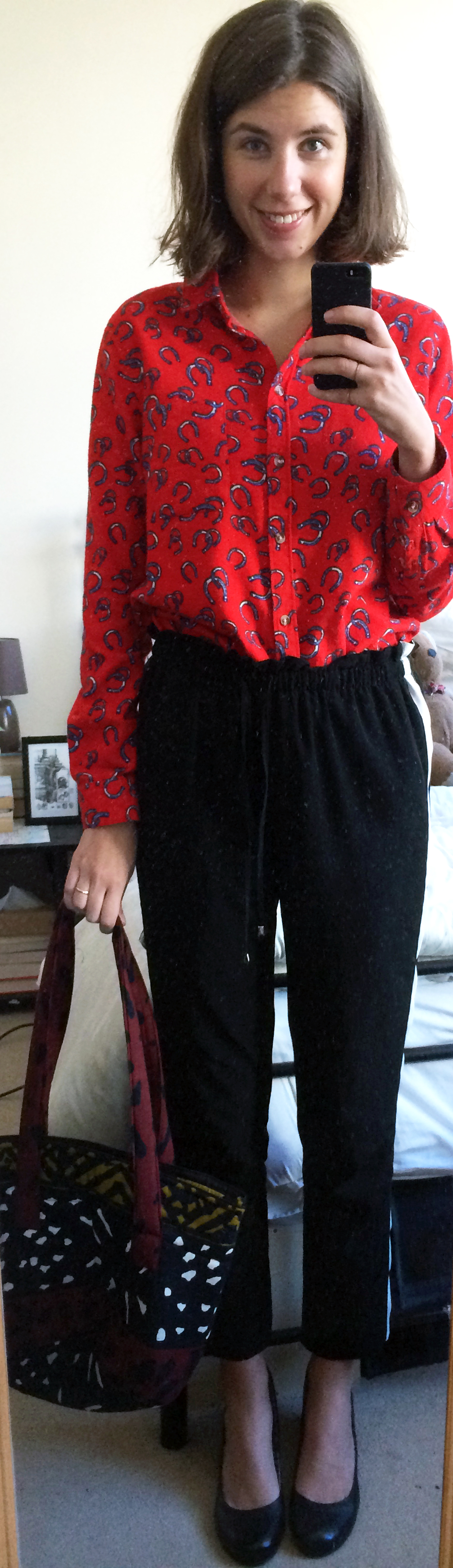 Horseshoe Button-Down Shirt ,  Side Stripe Pants ,  Black Block Heels,  Thrifted Bag