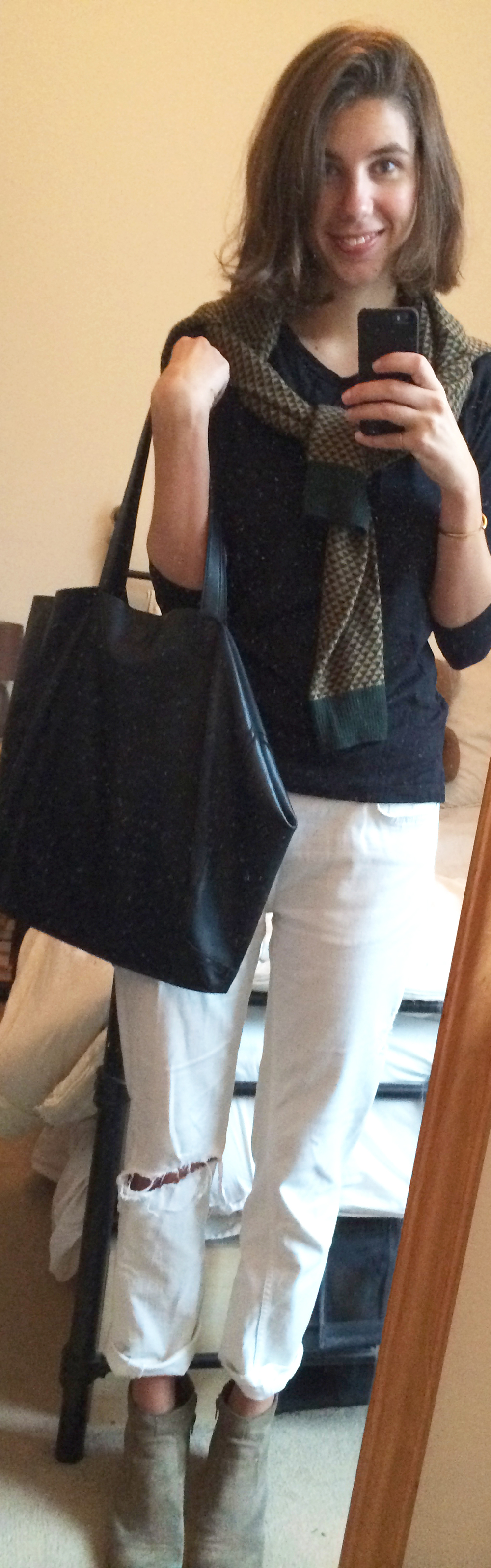 White Boyfriend Jeans ,  Black T-Shirt ,  Faux Leather Tote Bag ,  Suede Booties , Men's Sweater