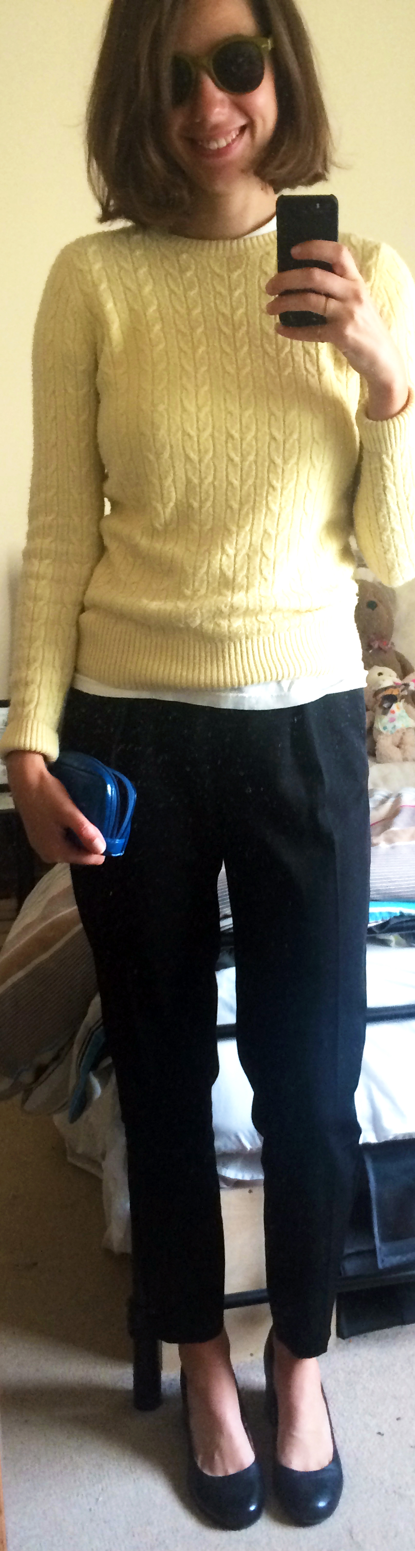 $1 Cable Knit Sweater, $20 Black Trousers,  Block Heels ,  Stephanie Johnson Pouch ,  Green Sunglasses