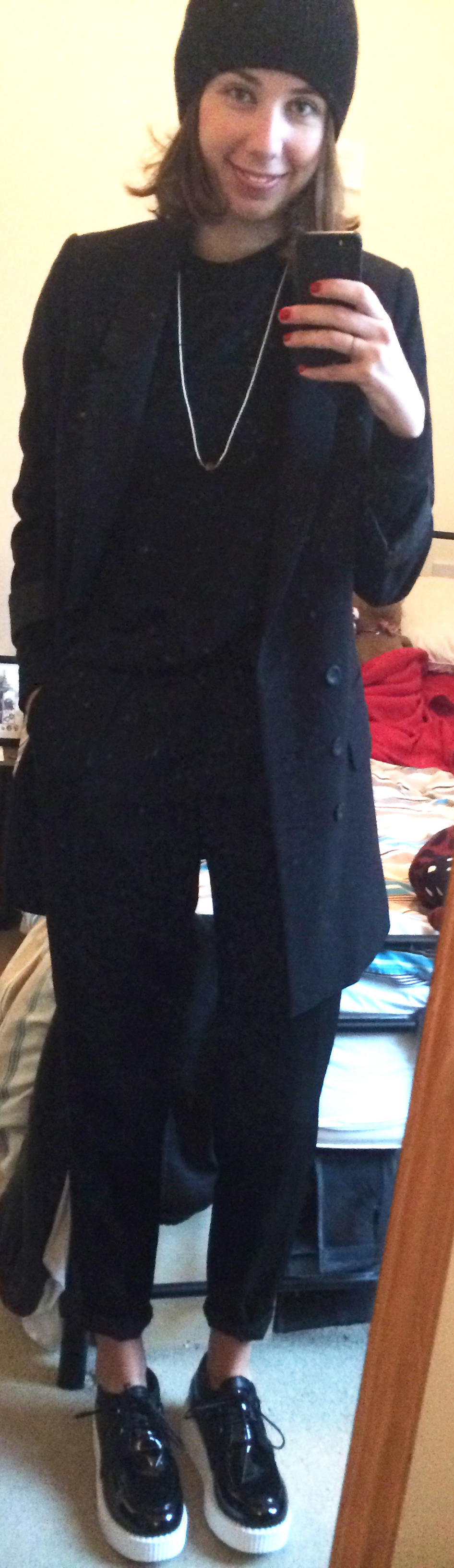 Patent Leather Creepers ,  Black Trousers ,  Mikkat Market Sweater ,  Navy Pea Coat