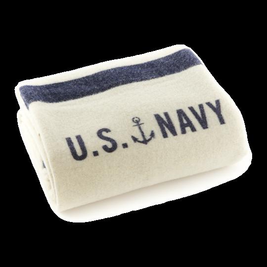 Fairbault Navy Cream Foot Soldier Wool Blanket