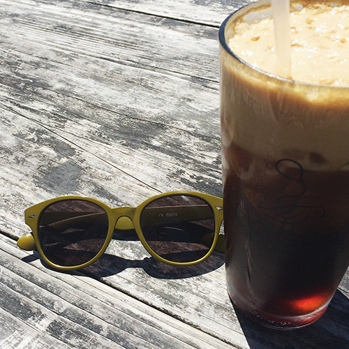 The KokyTu from  Cocoa Cinnamon . A triple ristretto espresso over iced cane sugar Mexican Coke. WOAH.    Sunglasses similar to this  Urban Outfitters  pair.