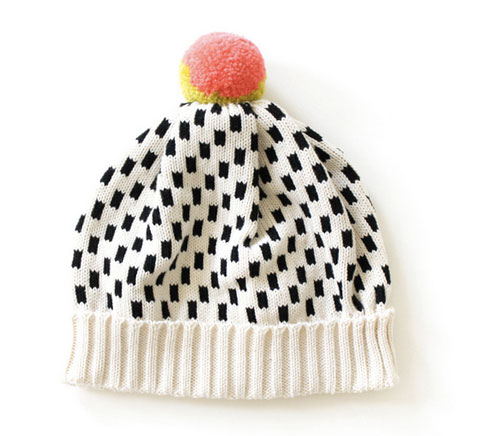 Dash Dot Hat in Cream by ALL KNITWEAR