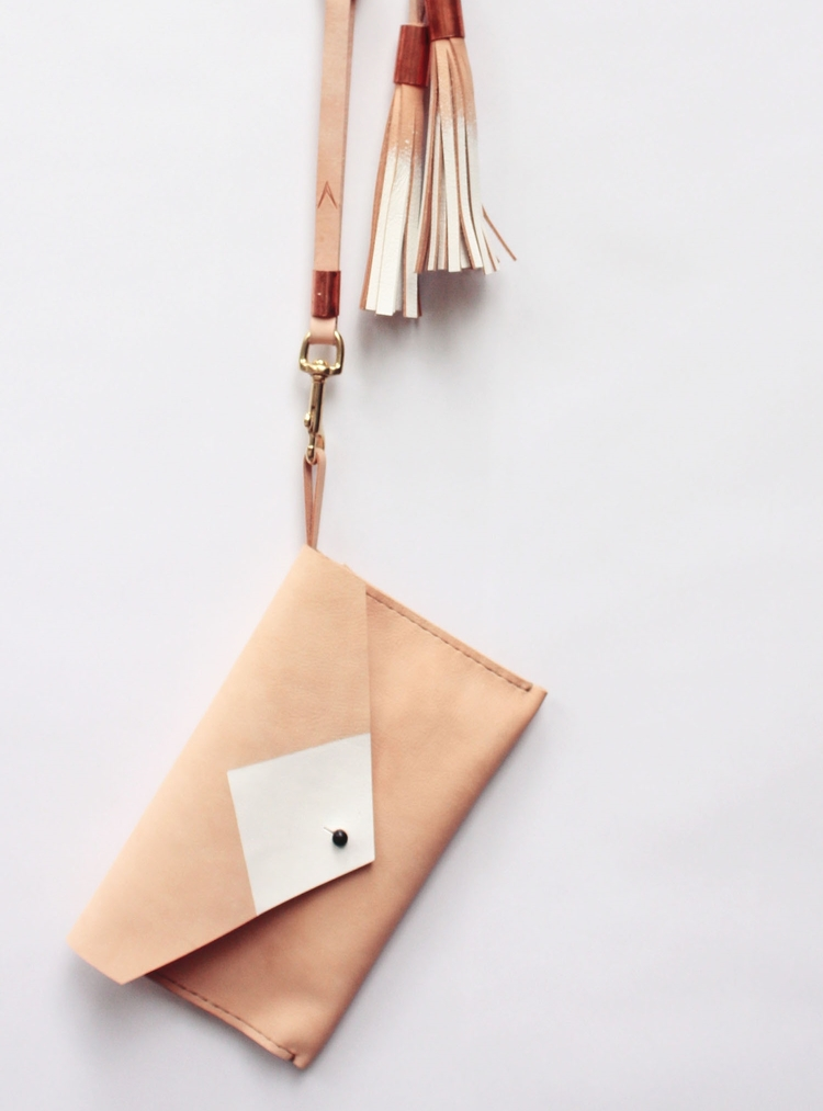 Leather Geo Clutch by Very Fine South