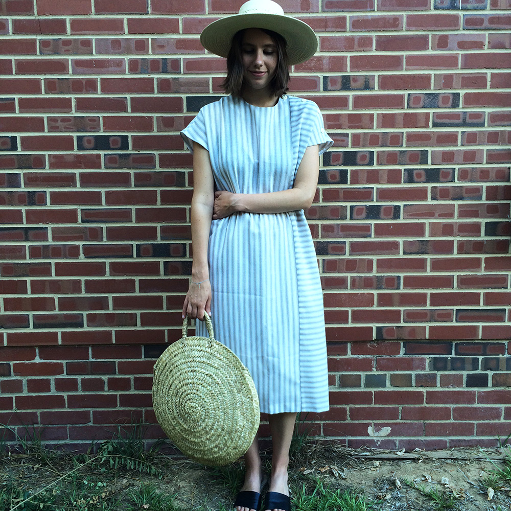 striped dress, straw bag, wide brim hat | Second Floor Flat