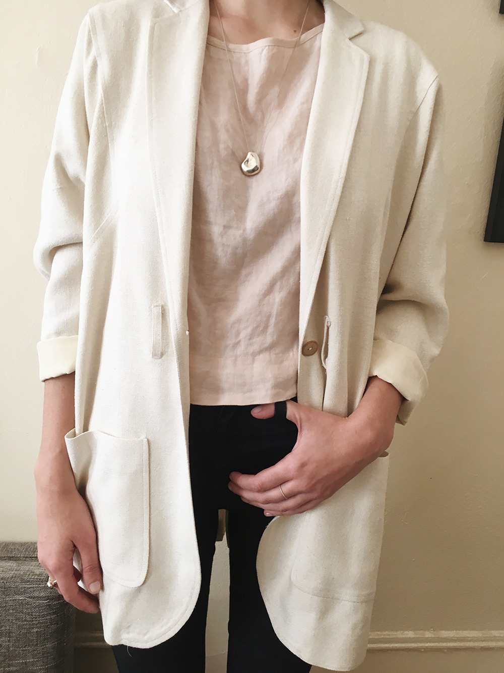 House Dress NY Slit Back Blazer, Ilana Kohn Kate Crop, Industry Standard Margot Highrise, FARIS Nug Necklace