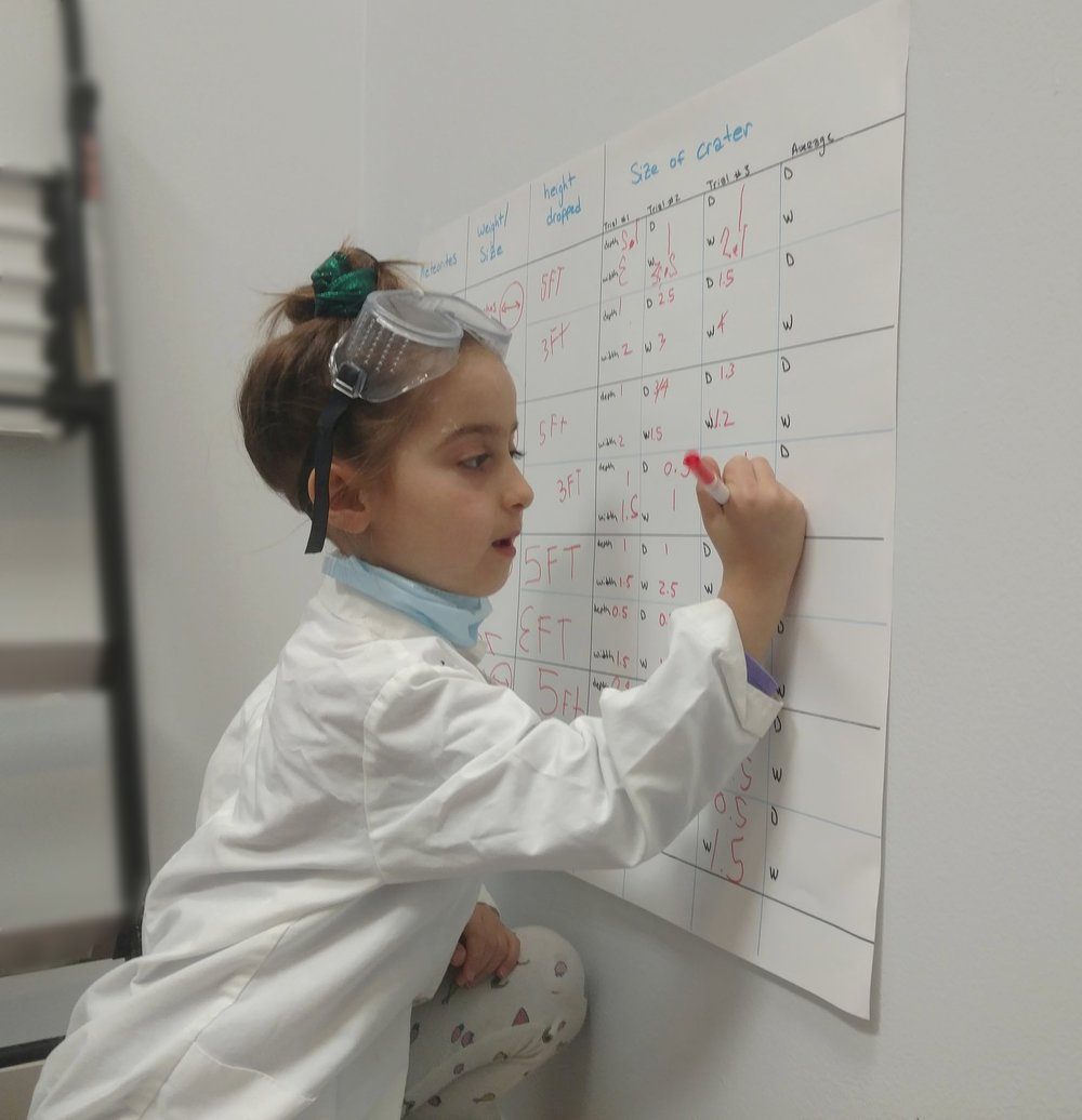 Future astrophysicist records her data.
