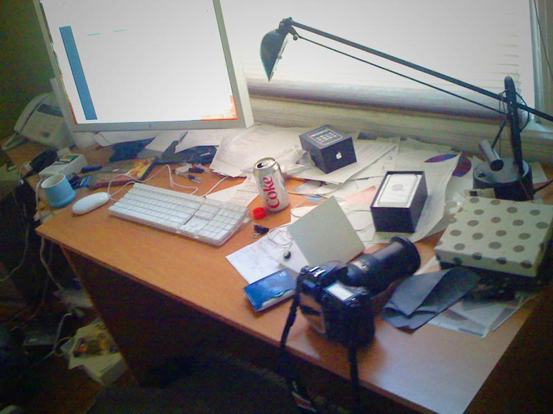 A familiar disorganized workplace for many creative professionals. Photo courtesy of  Brian Kusler