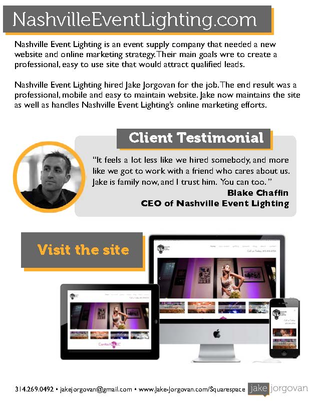 Case Study of website design for Nashville Event Lighting