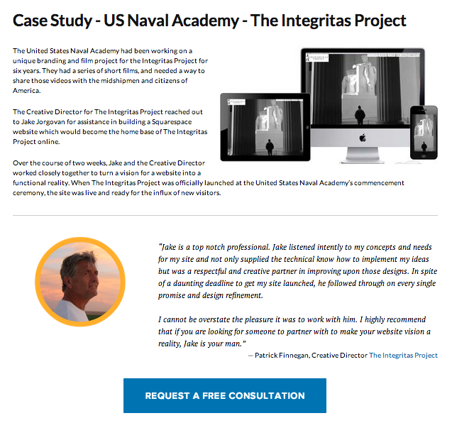 Example of a web page case study