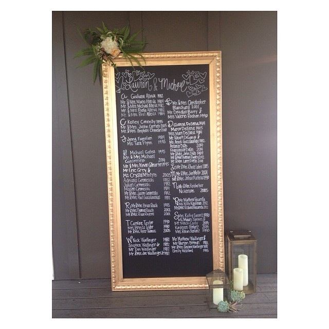 This seating chart was a lot of fun to make. It was framed and styled by  Shea Hopely