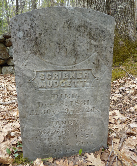 The grave marker of Scribner Mudgett & Nancy (Prescott) Mudgett ~ 1831