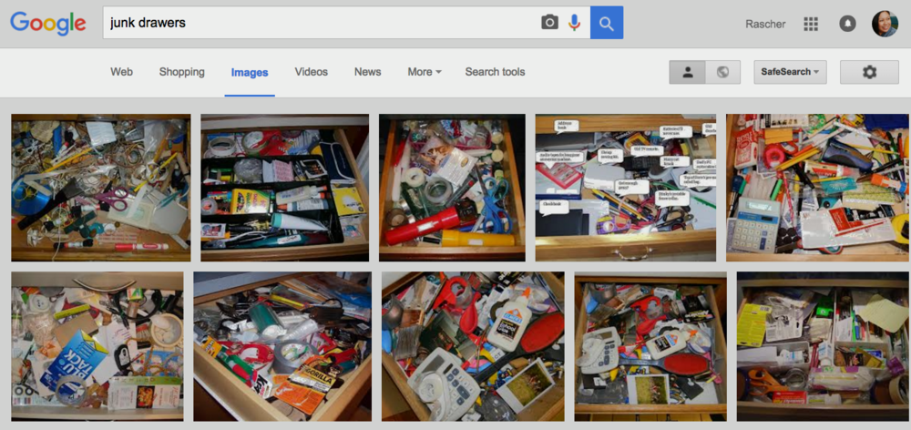 "If you Google ""junk drawers"" here are the results. I'm perplexed as to why there are so many junk drawer photos available online."