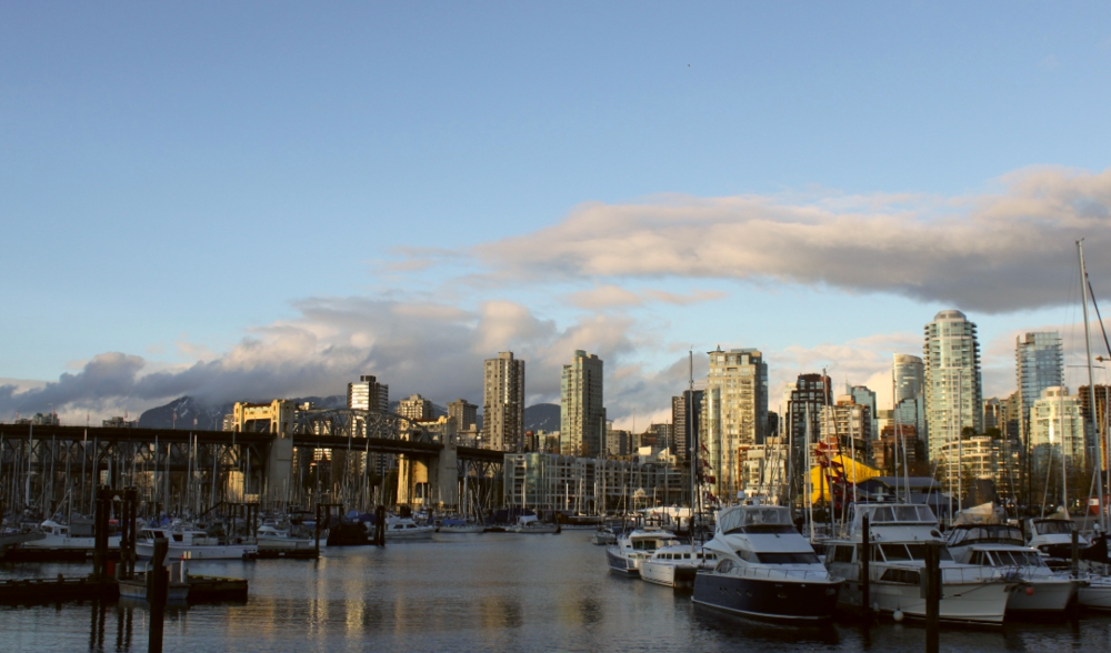 View of harbor and downtown, Burrard Civic Marina.