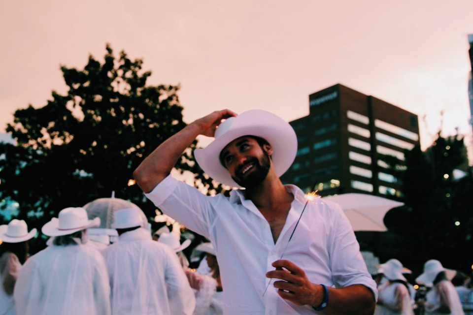Calgary's first ever Dîner en Blanc, complete with white cowboy hats, naturally.