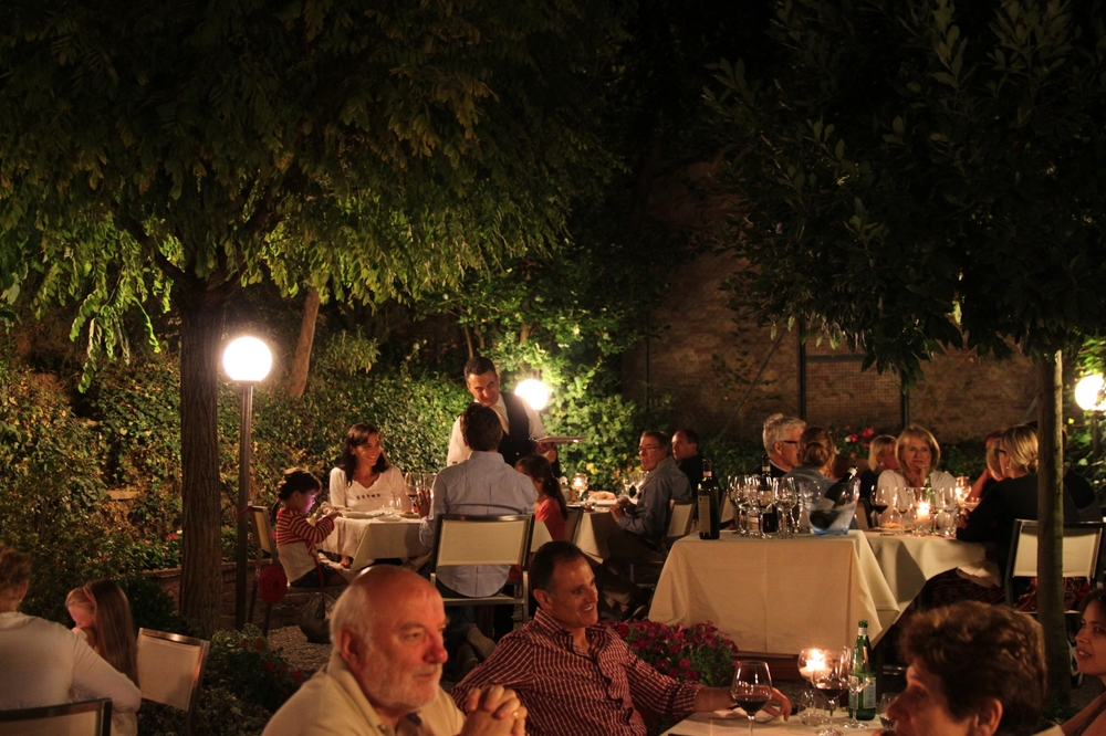 The outdoor dining scene at La Grotta, Montepulciano. A real midsummer's night dream it was.