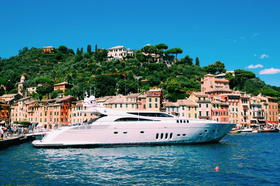 My yacht again, Portofino, and view of Hotel Splendido in the hills.