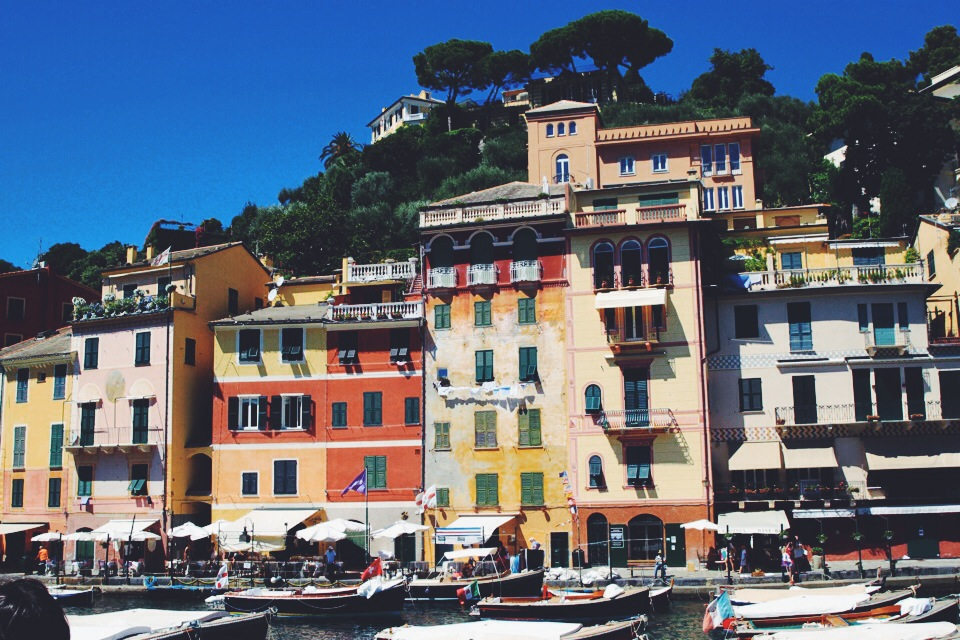 Beautiful building facades of Portofino.