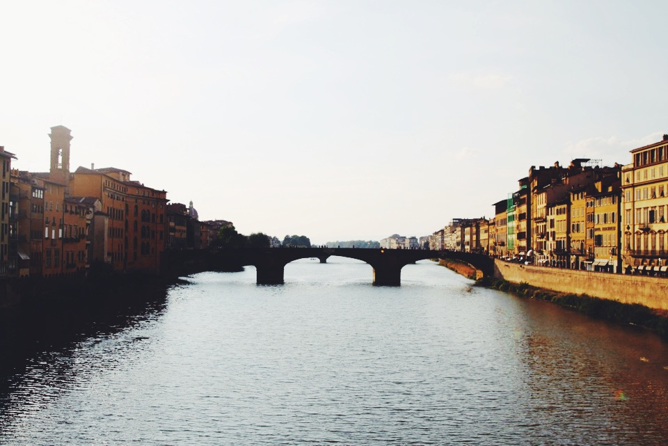 The Arno River in Florence as seen from Ponte Vecchio.