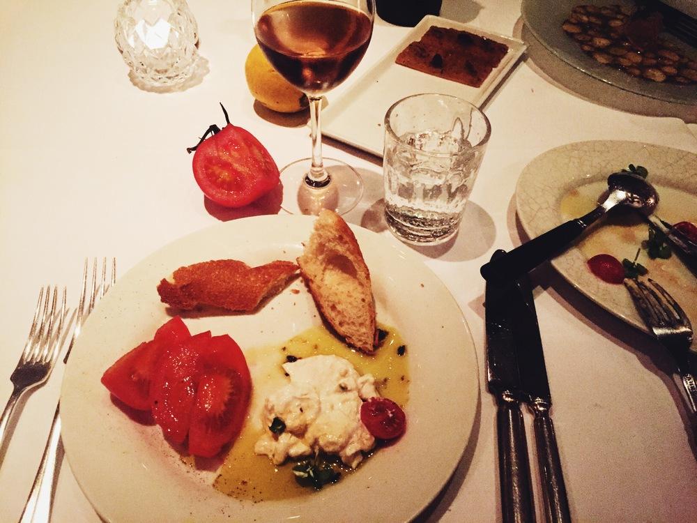 Burrata and baguette. La Petite Maison, Mayfair.