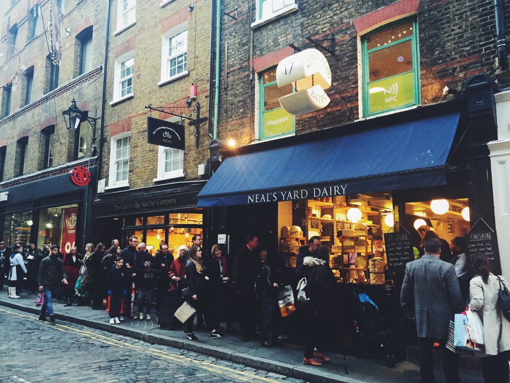Christmas Eve line up for cheese! Neal's Yard Dairy, Covent Garden.