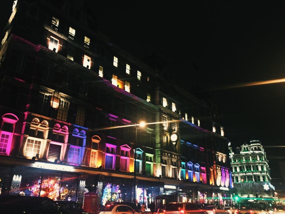 Harrod's by night, Knightsbridge.