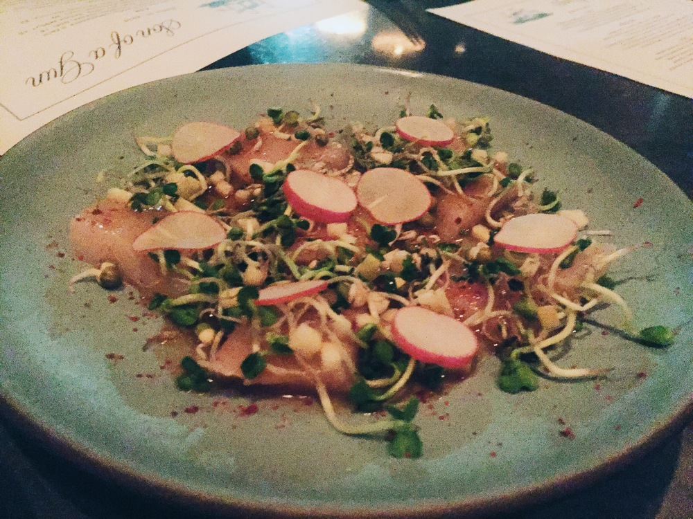 Hamachi at Son of a Gun: Galbi vinaigrette, pink lady apple, radish sprouts.