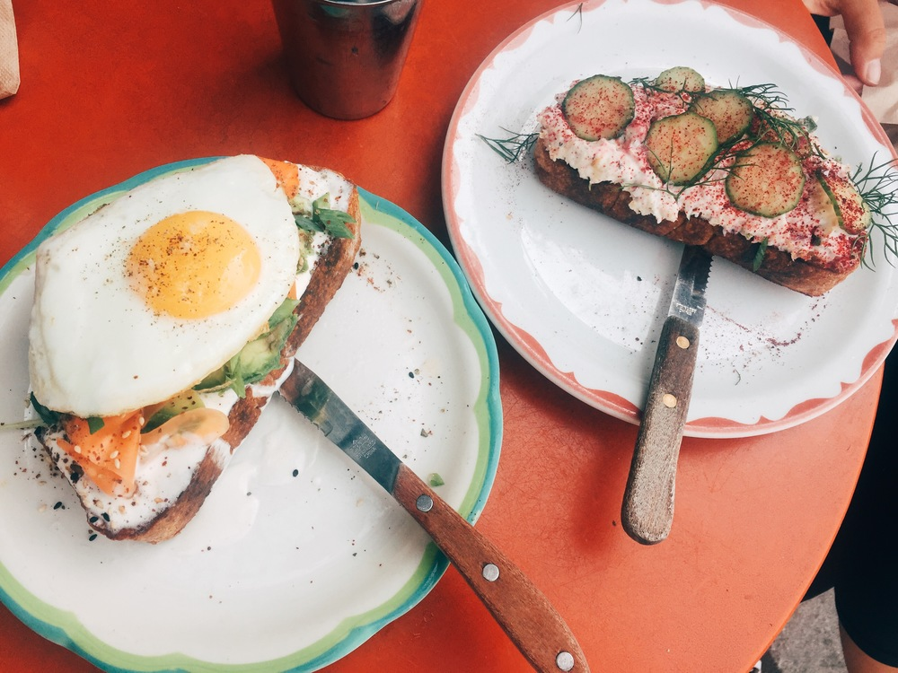 Lunch at SQRL: avocado toast and white fish tartine.
