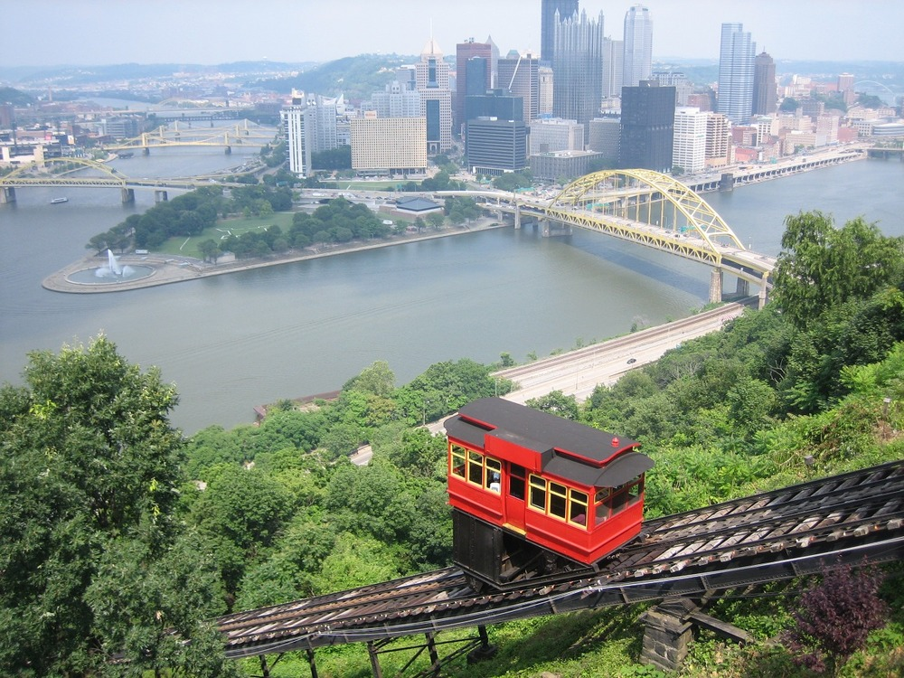 Downtown Pittsburgh and the Duquesne Incline from Mt. Washington. (Image source: Wikipedia)