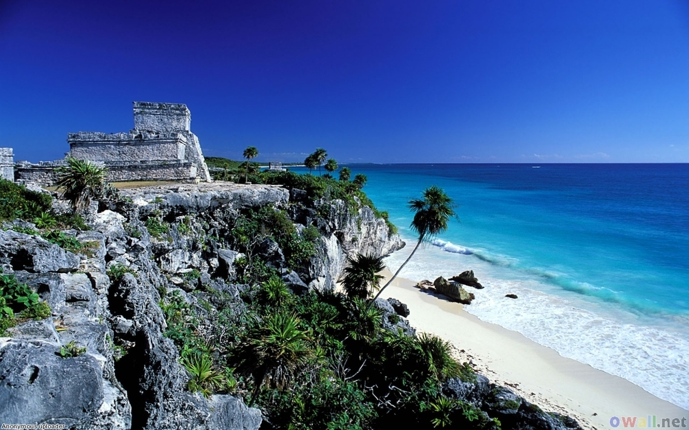 圖倫 (Tulum) 是唯一在海岸建立的馬雅古蹟。(Image Source: Openwalls.com)