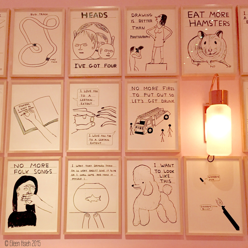 Interesting sketches by British artist David Shrigley adorning the walls of The Gallery restaurant.  餐廳的墻上掛滿了英國藝術家 David Shrigley 的素描。  © Eileen Hsieh