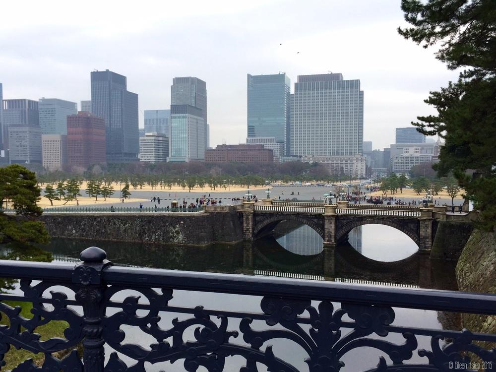 從皇居瞭望對外開放的外苑。View of the publicpalace grounds from the Imperial Residence.© Eileen Hsieh