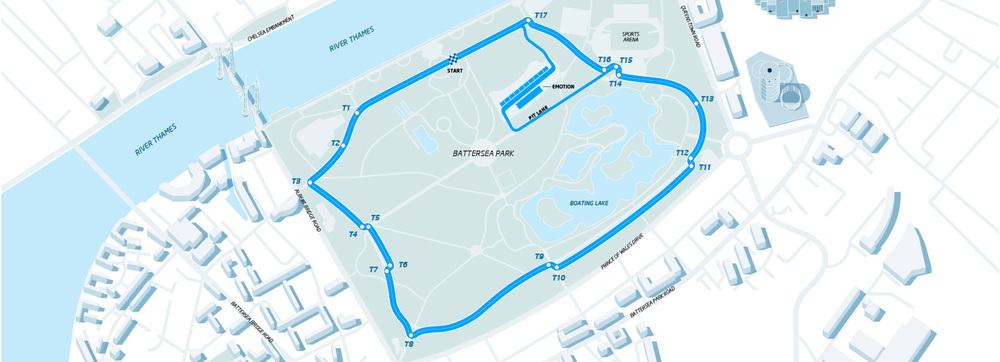 Map of Battersea Park Street Circuit.巴特西公園街道賽地圖。(Image:FIA Formula E)