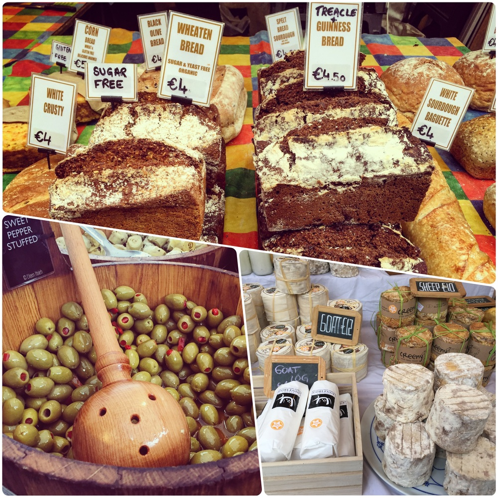 Beautiful artisan cheeses and local produce are sold every Saturday at the Temple Bar Food Market.