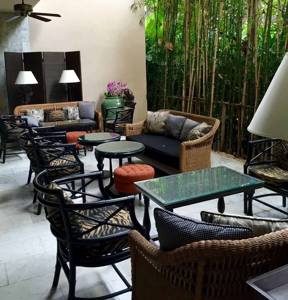 A quiet corner with understated rattan furniture.  ©  Eileen Hsieh