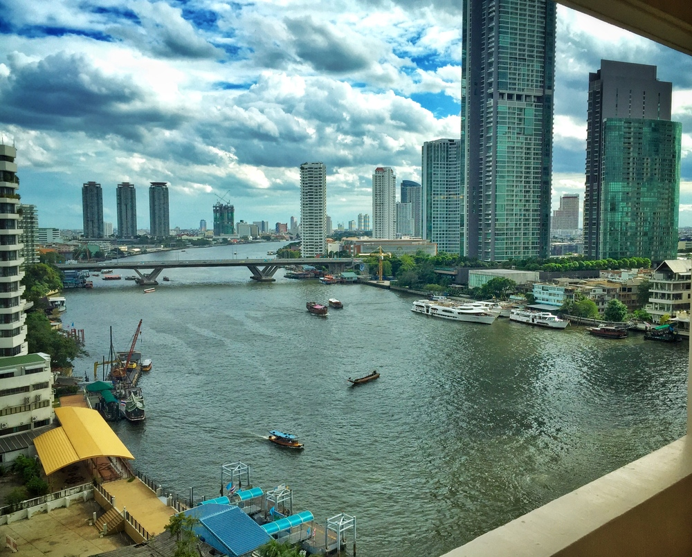 View of Chao Phraya from our Deluxe room.  ©  Eileen Hsieh