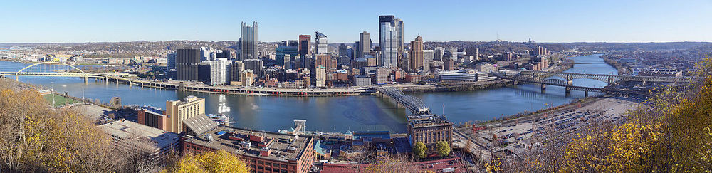 A panorama view of Pittsburgh captures its unique geographical features. (Image: By Dllu, via Wikipedia)