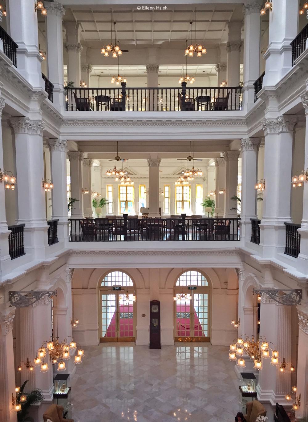 Inside Raffles Hotel's main lobby.© Eileen Hsieh