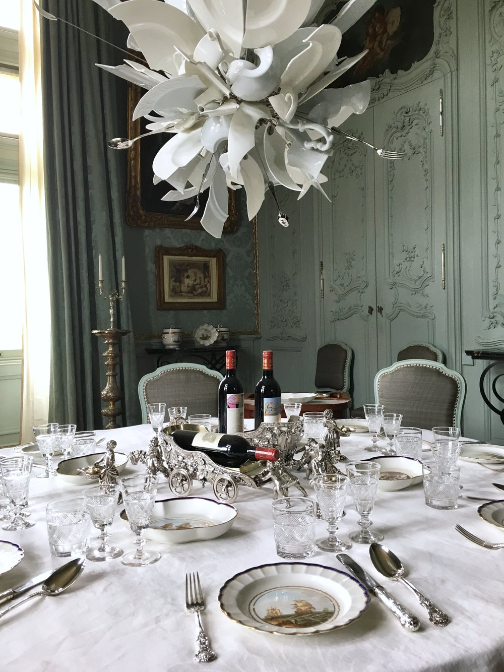 UK Waddesdon Manor broken glass chandelier dining room National Trust French Chateau Rothschild Buckinghamshire garden chateau Eileen Hsieh Follow That Bug .jpg