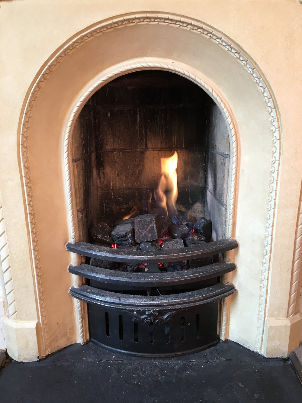 Beautiful gas fireplace, a much welcomed feature on cold winter nights. © Eileen Hsieh / Follow That Bug