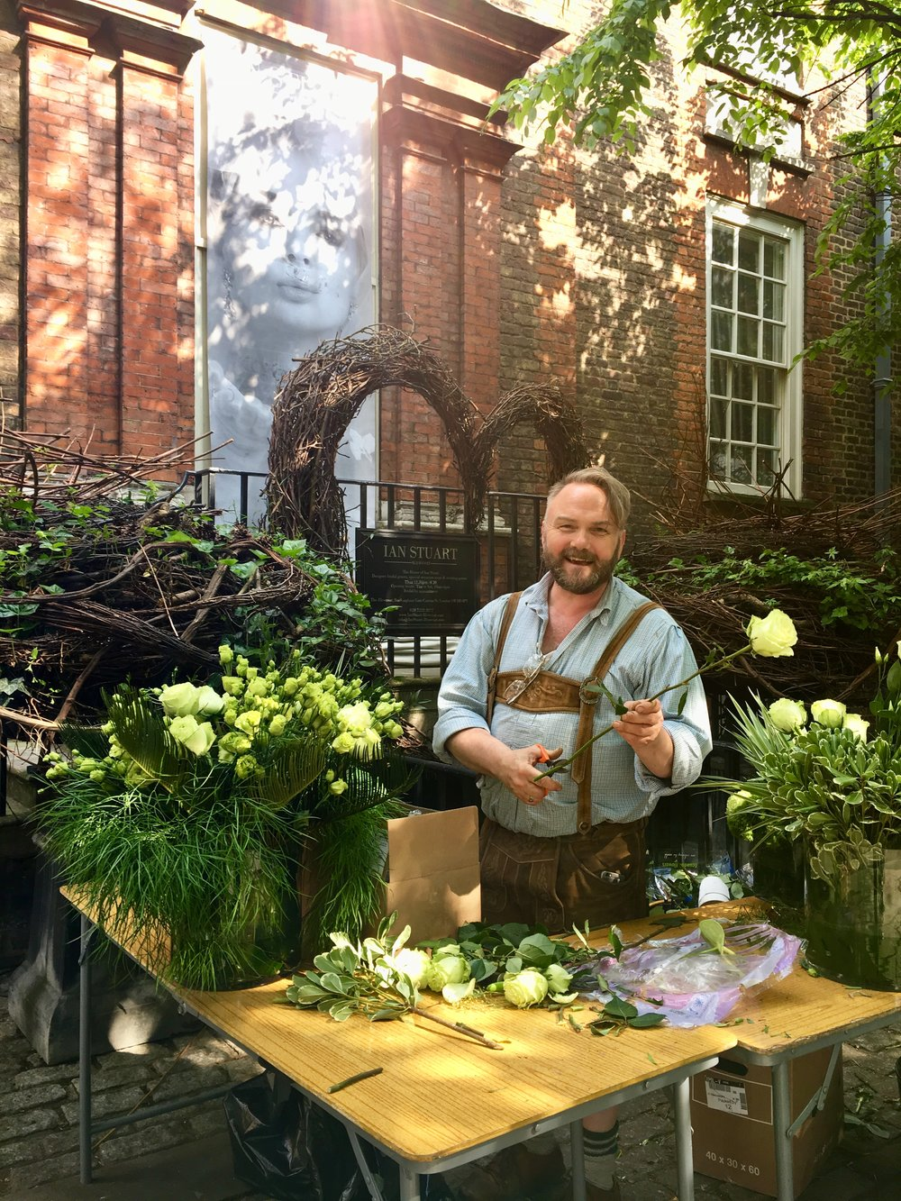 You can often spot Jens Jakobsen creating his playful floral displays outside the historic Blewcoat, which is now the flagship store wedding dress designer Ian Stuart.