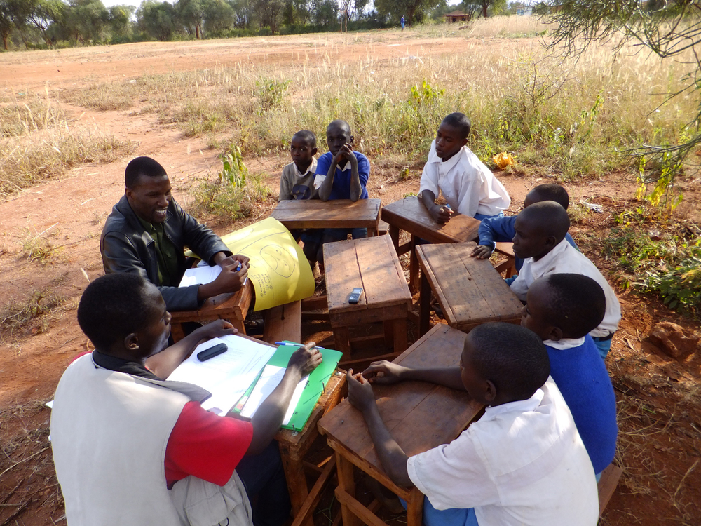 Focus group discussion with beneficiary children (boys) at Kwakavisi primary school, Kenya  © Onyango Ouma 2012 / ODI