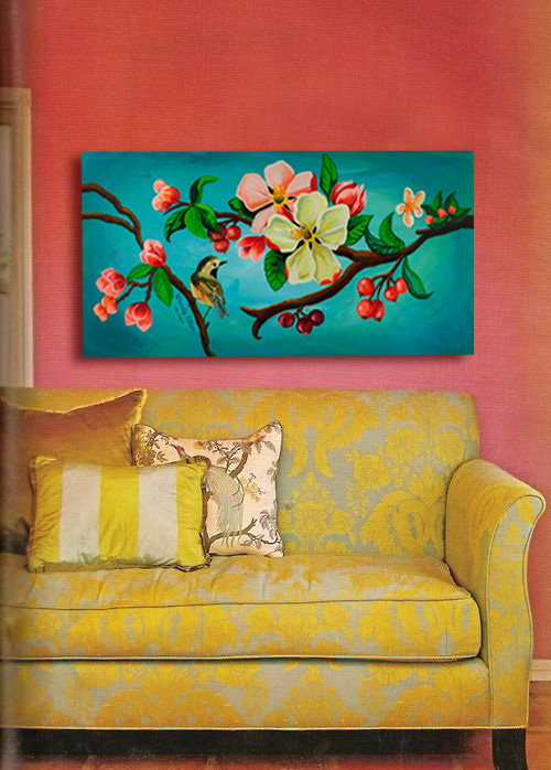 Blossom I Acrylic on wood
