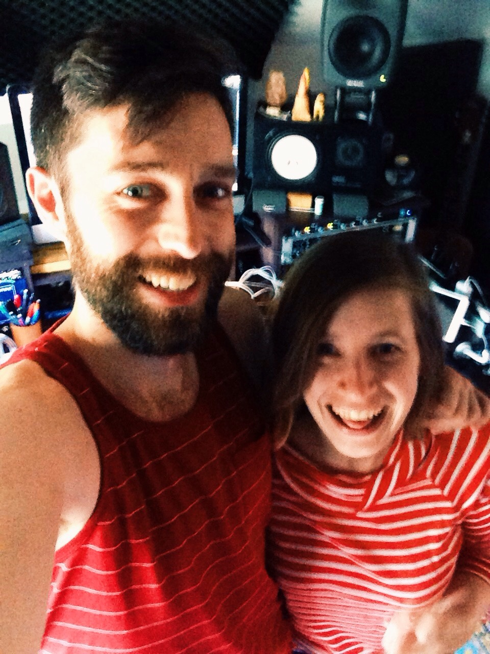 A good day is hanging out in the studio with my dear friend and long time collaborator James. Drank a lot of coffee and wrote a summer song. Our outfits matched too. #psychic     We are great at making music together, but terrible at selfies.   Xo