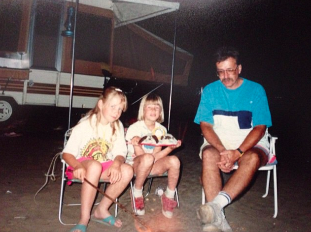 Happy fathers day to my Daddio. Here's a shot from us sometime in the 1990s on one of many family camping trips. He's always had great taste in shirts, and I've always liked roasting marshmallows. Not sure why my sister has a couple of pound puppies on a plate though….    Hope you all enjoy the longest day of the year if you're on my side of the globe. Summertime, summertime. Can't wait to spend the summer writing, drawing, and plotting my slow-paced global takeover.  xo