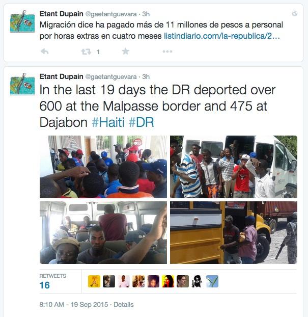 Screenshot of Journalist Etant Dupain'sTwitter Feed September 19th, 2015