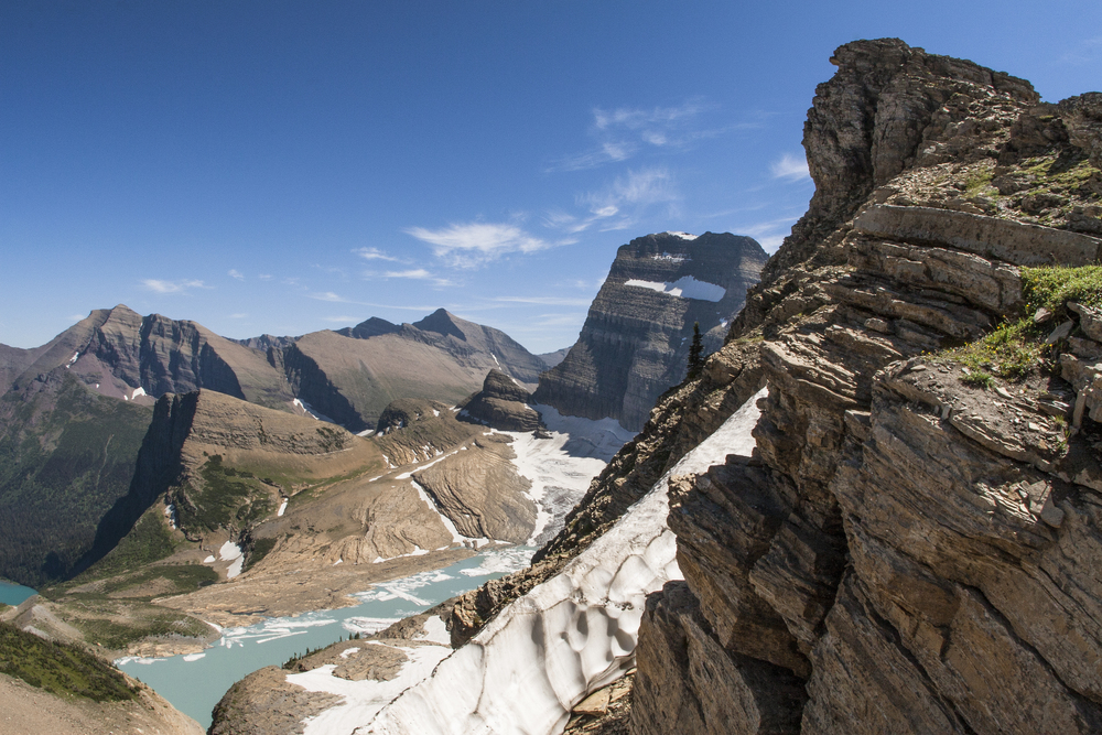 A view of Glacier National Park's Salamander Glacier and the Ginnell Glacier Complex from the Grinnell Glacier Overlook.