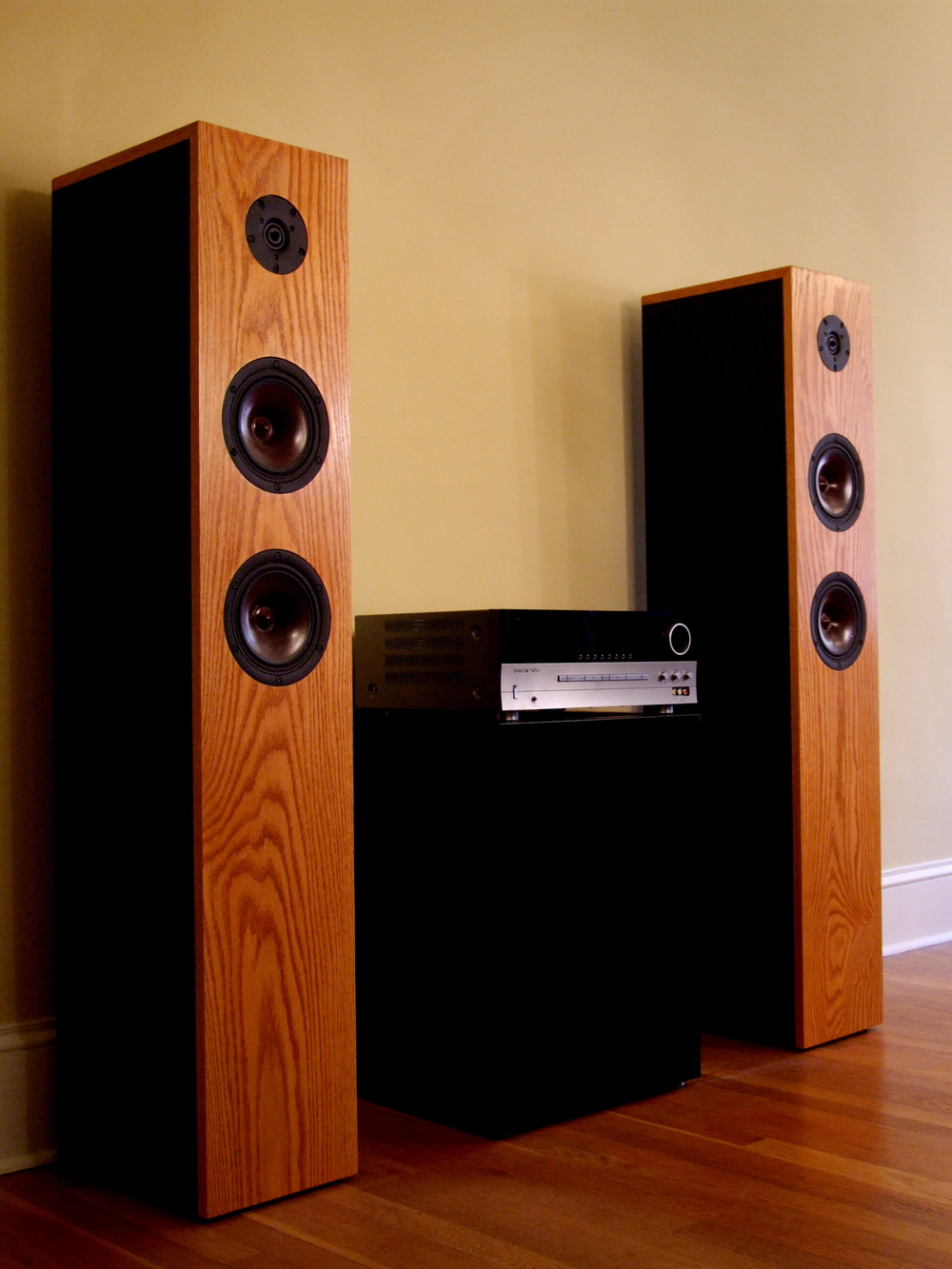 Fuzz Productions  founder wanted a system to deliver crisp mid-range sound and compliment the interior style of their home office. Design features wood-fiber transducers flush-mounted in a handcrafted red oak enclosure. 40Hz-40kHz ±3dB. Dimensions: 26cm (w) x 140cm (h) x 36cm (d).